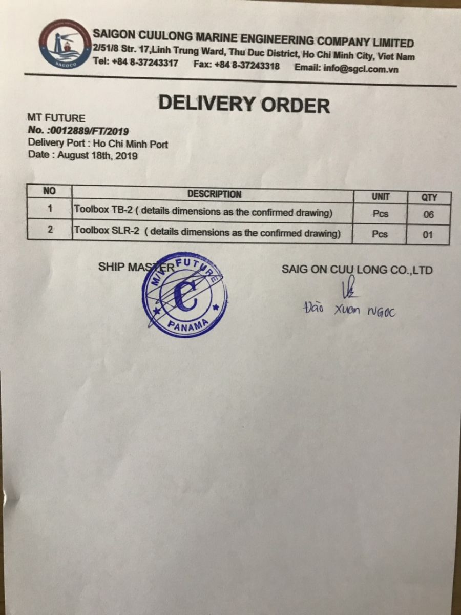 SERVICE REPORT & DELIVERY ORDER